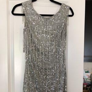 Aidan Mattox silver fringed bead dress